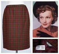 M&S Red Tartan Pencil Skirt 16 Green Check Pencil Wiggle Preppy Wool Ladies
