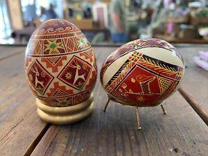 2 Real Ukrainian hand made Pysanky Pysanka Easter Eggs Whole No Hole Deer