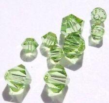 24 Swarovski Crystal Beads 4/6mm Bicone 5328 Crystal Beads AUGUST MIX (PERIDOT)
