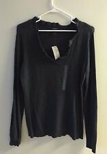 ANN TAYLOR V NECK CHARCOAL GRAY SWEATER SIZE MEDIUM NEW WITH TAGS