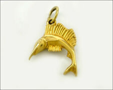 14k Yellow Gold Sailfish, Charm for Necklace / Bracelet, 2.1 gram.