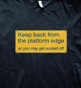 Fun railway sign model train cool slogan t shirt
