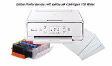 Edible Canon TS6020 LCD Printer Bundle, 5 Edible Ink, 100 Wafer Sheets