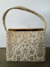 Vintage Martin van Schaak Handbag Hand Bag Purse Ivory Velvet Tapestry 50s 60s