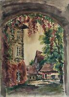 Aquarell Hofeinfahrt um 1920 Impressionist Studie Skizze 29,5 x 21 cm