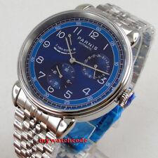 42mm PARNIS blue dial power reserve date automatic mens watch steel bracelet