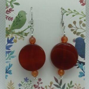 Carnelian and Jade earrings with UK .925 Sterling Silver ear hooks.