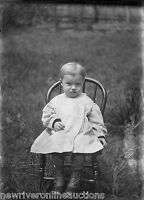 Antique 5x7 Glass Plate Negative SW Pennsylvania Portrait of a Child in a Chair