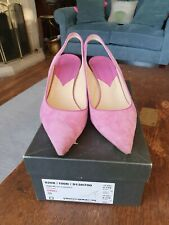 HOBBS Imelda Suede Pink Sorbet Slingback Shoes Size 39/6 RRP £110 Spare Heels