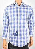 Club room Mens Shirt New 15 32/33 Blue Plaid Regular Fit Button up long sleeves