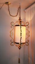 Mid Century Hollywood Regency Large Gold Gilded Wrought Iron Cylinder Swag Lamp