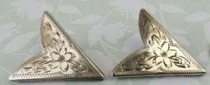 Vtg Sterling Silver 925 Etched 1 1/2 inch Western Shirt Collar Tips