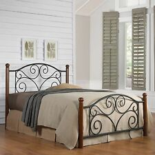 NEW Queen Size Bed Frame Wood Post Metal Scroll Work Design Elegant Curvy Headbo