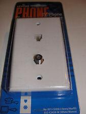 Leviton White Single Gang Tv-Phone Flush Mount Wallplates 832-C2450-W