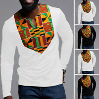 New African Men Long Sleeve V NECK T Shirt Muscle Top Tee Plain Crew Neck Casual