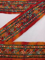 Indian Vintage Trim Antique Hand Embroidery Thread & Sequins Work Orange Lace