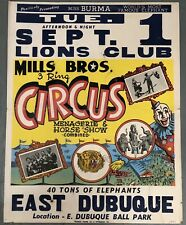 RARE Vintage 1950s Mills Bros 3 Ring Circus Miss Burma Elephant Show Poster