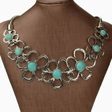 Nature Turquoise Flower Beads Elegant Bib Collar Statement Pendant Necklace
