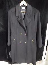 "Women's John Weitz Forstmann Black Two Button Trench Coat 100% Wool; 42"" Long"