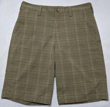 UNDER ARMOUR GOLF PERFORMANCE HEAT GEAR Men 32 Khaki Tan Plaid Flat Front Shorts