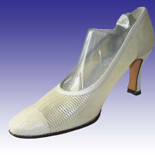 """New DELMAN Heels 7N OFF -WHITE - Leather & Lace Pumps 3-1/4"""" Heel CREAM"""