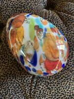 "Hand Blown Russian Glass Egg Studio Art Red Blue Green Orange 6.5"" Tall 4"" Wide"