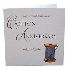 2nd Cotton Anniversary Card Wife Luxury Handmade  148mm sq. 300gsm