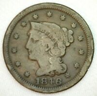 1846 Braided Hair US One Cent Penny Coin 1c US Type Coin Very Good Large Cent
