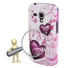 HardCase Backcover für Samsung S7562 Galaxy S Duos Herzen pink weiß Etui Case