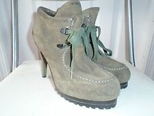 Ash Poppy Womens Olive Green Leather Suede Lace Heel Ankle Boots 38.5 / US 8.5
