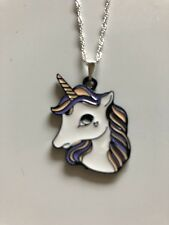 Unicorn Pendant Charm Necklce Rainbow Fairy