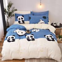 Blue Panda Printing Bedding Set Duvet Quilt Cover+Sheet+Pillow Case Four-Piece
