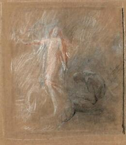 THE BIRTH OF VENUS Antique Chalk Drawing - 19TH CENTURY