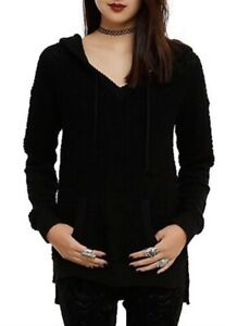 New Hot Toic Womens/Jr's S-M Black Bubble Knit Solid Hoodie Top Sweater