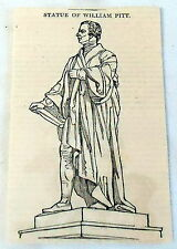 1832 small magazine engraving ~ profile of the STATUE OF WILLIAM PITT