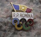 Antique Romanian Peoples Republic Romania Olympic Committee Flag Rings Pin Badge