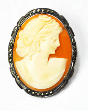 800 Fine Silver Carved Shell Cameo Filigree Hematite Brooch Pin Pendant 40mm