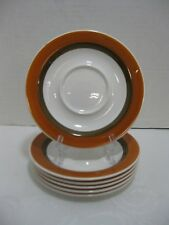 AMCREST Ironstone Saucers Brown Orange Rust Bands Set of 6