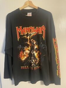 Manowar Vintage Men's Long Sleeve Shirt Size XL Hell On Stage Tour Shirt