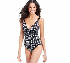 Swim Solutions Size 20 Black Polka Dot V-Neck 1-Piece Swimsuit $92 NWT