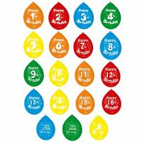 Amscan Multicoloured Numerical Happy Birthday Party Balloons (Age 1-19) (SG3964)