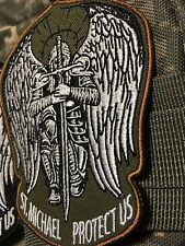 ST. MICHAEL PROTECT US Tactical Army GREEN MORALE ISAF PATCH Wings Sword