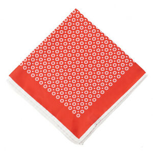 New $215 KITON Bright Red Floral Medallion Print Silk Pocket Square