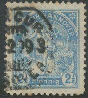 1893 MERCUR HANNOVER PRIVATER STADTPOST 2 ½ Pfennig blau gestempeltes Pra.-Stück