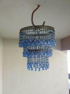 "Blue glass bead mini chandelier 7"" diameter"