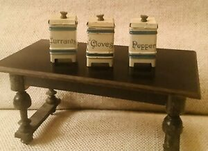 Antique Dollhouse Miniature German Spice Canisters