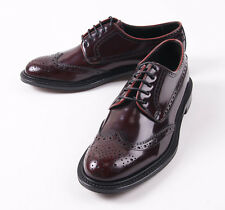 NIB $695 CANALI 1934 Glossy Burgundy Leather Wingtip Derby US 8.5 D Shoes