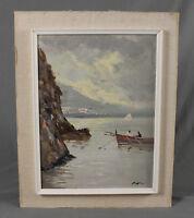 Oil Painting Italian Coastal Seascape Scene by Vito