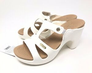 Crocs Cyprus V Heels Womens Size 5 OYSTER/GOLD NEW