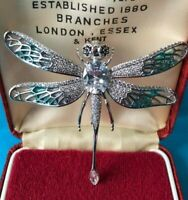 Stunning Vintage Style Plique a Jour Enamel Crystal DRAGONFLY Articulated Brooch